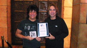 "Richie Onori with Marvin Sperling - Richie Wins ""Album of the Year"" for ""Days of Innocence"" at the 1st Annual Rock Over America Awards Ceremony in Las Vegas"